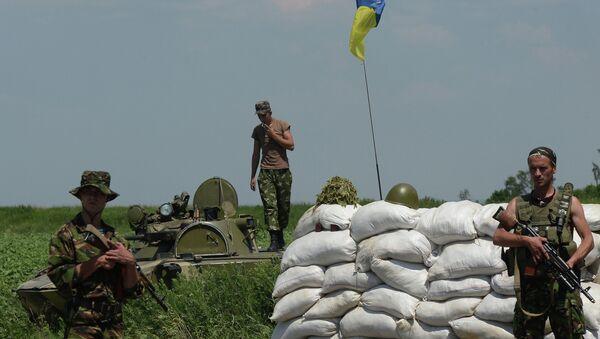 Контролни пункт украјинске војске у месту Амвросијевка у Доњецкој области - Sputnik Србија