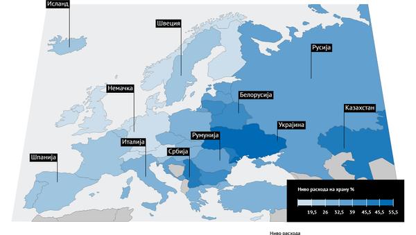 Рејтинг земаља Европе по нивоу расхода породица на исхрану - 2014 - Sputnik Србија