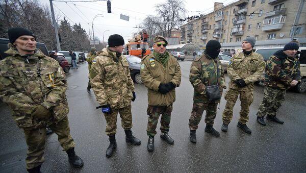Miting bataljona Ajdar ispred Ministarstva odbrane Ukrajine - Sputnik Srbija