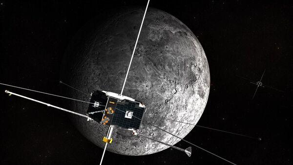 Svemirski brod kruži oko Meseca - ilustracija - Sputnik Srbija