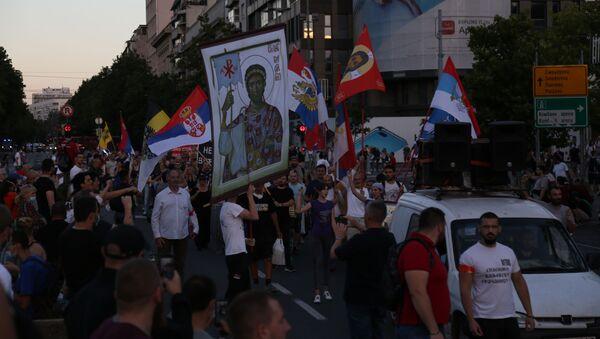 Протест испред Скупштине Србије - Sputnik Србија