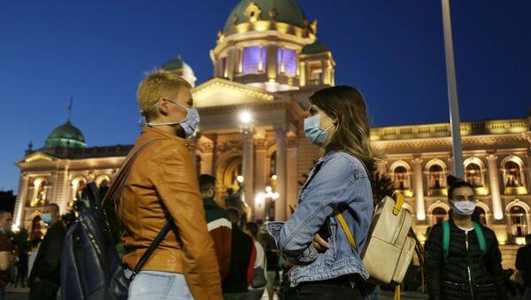 Протести испред зграде Скупштине у Београду - Sputnik Србија
