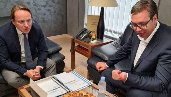 Oliver Varhelji i predsednik Srbije Aleksandar Vučić  - Sputnik Srbija