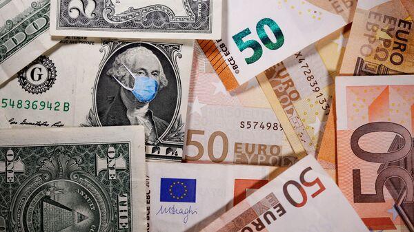 Новчаница од једног долара са илустрацијом Џорџа Вашингтона са маском - Sputnik Србија