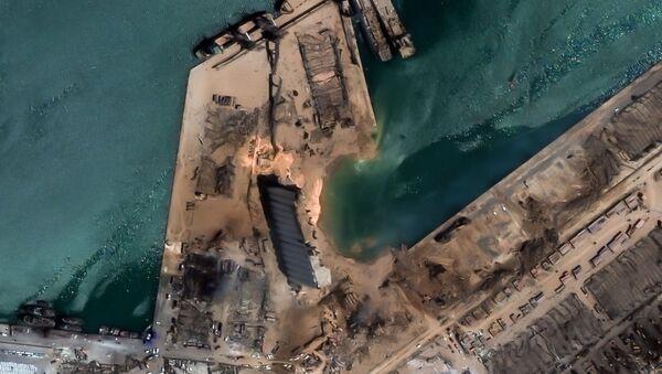 Сателитска слика места ескплозије у Бејруту - Sputnik Србија