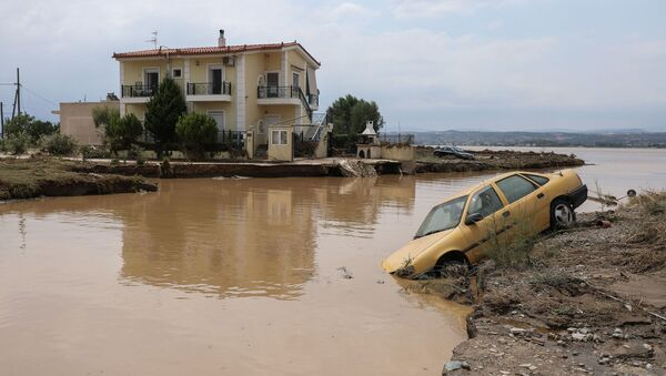 Nevreme i poplava na grčkom ostrvu Evia. - Sputnik Srbija