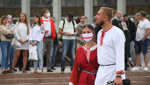 Učastniki akcii protesta v Minske - Sputnik Srbija
