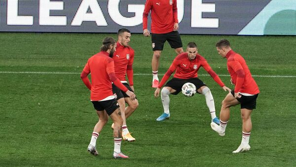 Fudbaleri reprezentacije Srbije na treningu uoči utakmice Lige nacija UEFA protiv Rusije - Sputnik Srbija