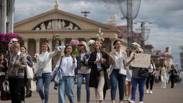 Жене протестују у Минску после избора 09. августа 2020. - Sputnik Србија
