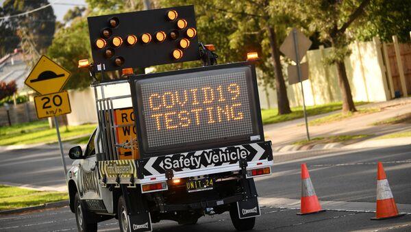 Возило за тестирање на вирус корона у Мелбурну у Аустралији - Sputnik Србија
