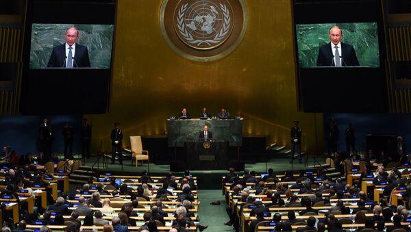 Обраћање председника Русије Владимира Путина Генералној скупштини УН у Њујорку - Sputnik Србија