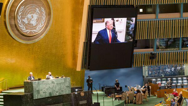 Видео-обраћање америчког председника Доналда Трампа учесницима Генералне скупштине УН - Sputnik Србија