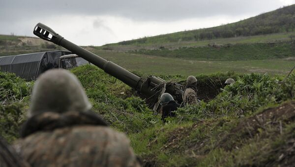 Artiljerijski položaji u selu Madagis u Nagorno-Karabahu - Sputnik Srbija