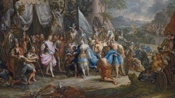 Амазонска краљица Талестрис у кампу Александра Великог, аутор Јохан Џорџ Плацер - Sputnik Србија