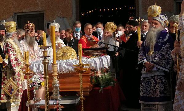 Обраћање патријарха Иринеја након одржаног опела - Sputnik Србија