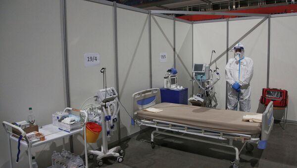 Болесничка соба за ковид пацијенте у привременој болници у Београдској арени - Sputnik Србија