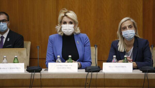 Ministarka za rad, boračka i socijalna pitanja Darija Kisić Tepavčević i ministarka pravde Maja Popović - Sputnik Srbija
