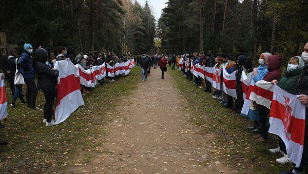 Pristalice beloruske opozicije na protestu u Minsku - Sputnik Srbija