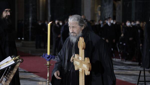 Vladika Atanasije Jevtić na sahrani patrijarha Irineja. - Sputnik Srbija