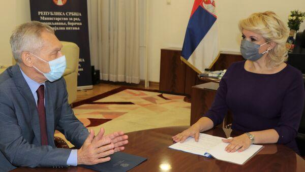 Ministarka za rad Darija Kisić Tepavčević i ambasador Rusije Aleksandar Bocan-Harčenko - Sputnik Srbija