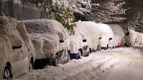 Sneg zatrpao automobile - Sputnik Srbija