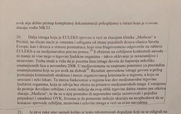 Део извештаја у коме се наводи да су сутруктуре ОВК повезане са трговином људским органима - Sputnik Србија