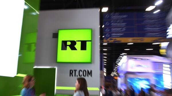 Логотип РТ на Петербуршком економском форуму 2019. - Sputnik Србија