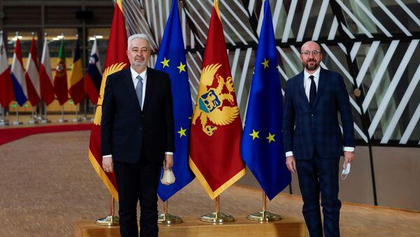 Premijer Crne Gore Zdravko Krivokapić i predsednik Evropskog saveta Šarl Mišel - Sputnik Srbija
