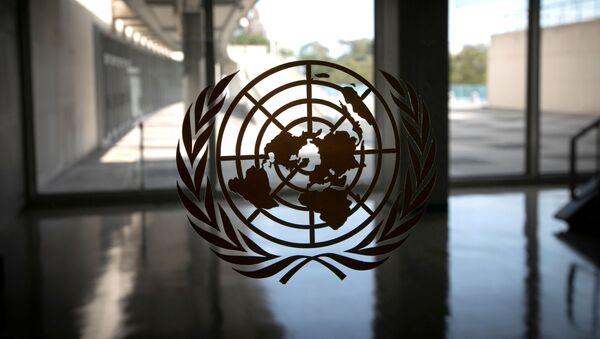 Logo Ujedinjenih nacija na ulazu u sedište organizacije u Njujorku - Sputnik Srbija