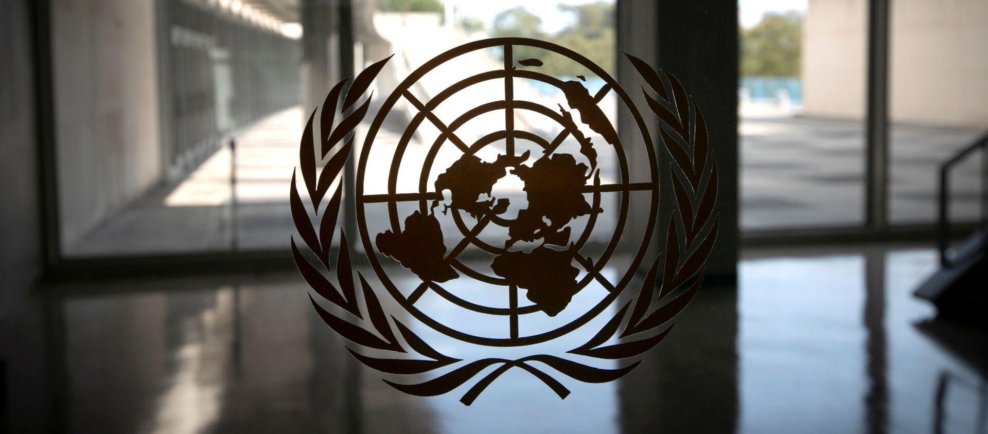 Logo Ujedinjenih nacija na ulazu u sedište organizacije u Njujorku - Sputnik Srbija, 1920, 16.12.2020