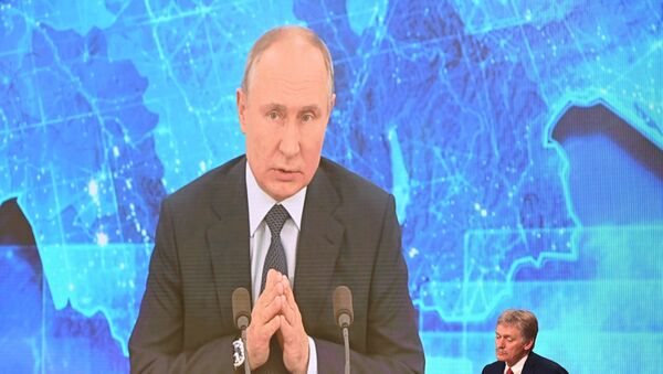 Руски председник Владимир Путин одржава годишњу конференцију за штампу из подмосковске резиденције - Sputnik Србија