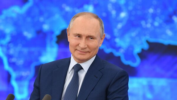 Predsednik Rusije Vladimir Putin na godišnjoj konferenciji za medije - Sputnik Srbija