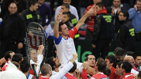 Виктор Троицки после победе над Француском у финалу Дејвис купа 2010. године - Sputnik Србија