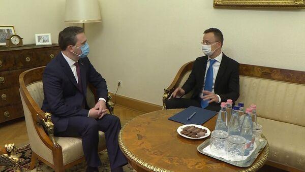 Министар спољних послова Никола Селаковић са мађарским колегом Петером Сијартом - Sputnik Србија