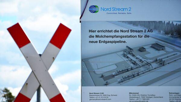 Informativni pano na gradilištu gasovoda Severni tok 2 u Nemačkoj - Sputnik Srbija