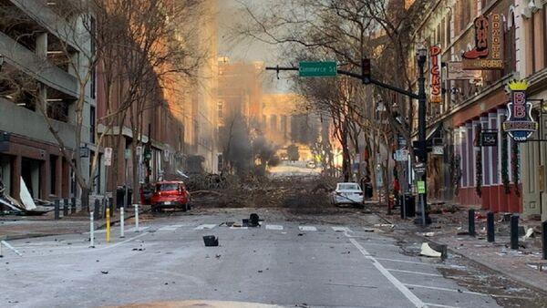 Fotografija posledica jutarnje eksplozije Nešvila u SAD objavljena na Tviteru, 25. decembra 2020 - Sputnik Srbija