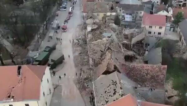 Земљотрес у Петрињи снимљен из ваздуха - Sputnik Србија