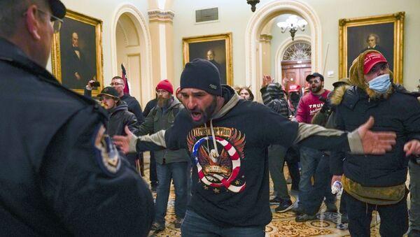 Демонстранти испред Сенатске коморе на Капитол хилу у Вашингтону - Sputnik Србија