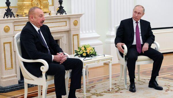 Predsednici Azerbejdžana i Rusije, Ilham Alijev i Vladimir Putin na sastanku u Moskvi - Sputnik Srbija