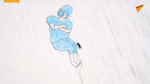 Уметник из града науке Протвино у Московској области прави слике у снегу - Sputnik Србија