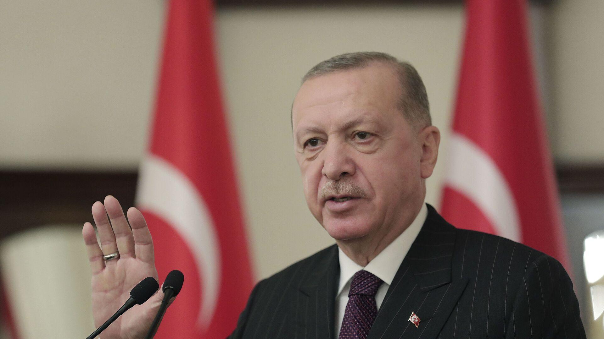 Председник Турске Реџеп Тајип Ердоган - Sputnik Србија, 1920, 14.04.2021