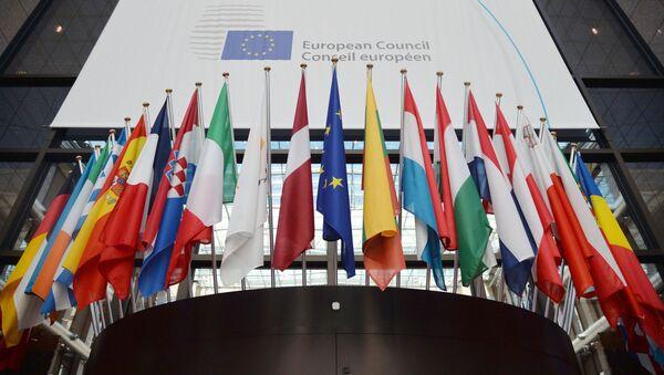 Заставе европских држава испред зграде Савета Европе у Бриселу - Sputnik Србија