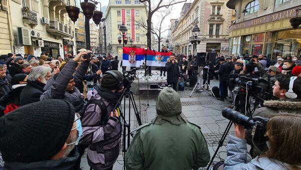 Student Pravnog fakulteta Nemanja Vučković na protestu ispred SANU - Sputnik Srbija