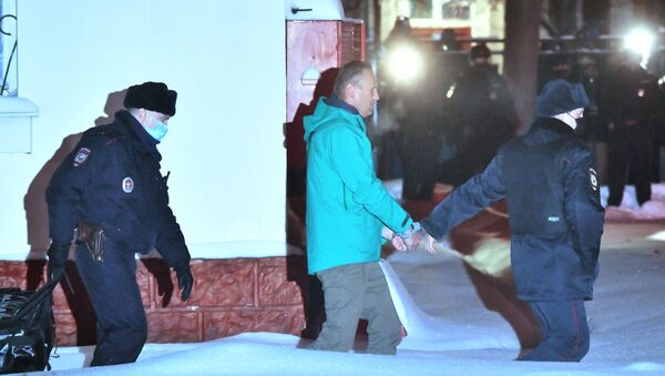Pripadnici policije sprovode ruskog blogera Alekseja Navaljnog - Sputnik Srbija