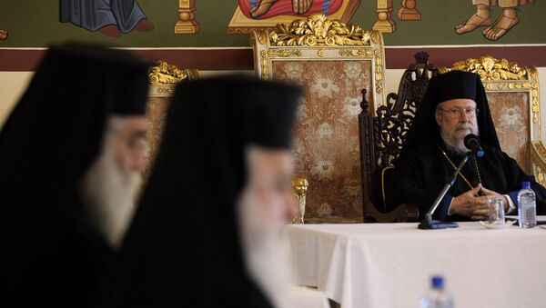 Poglavar kiparske pravoslavne crkve arhiepiskop Hrizostom na saboru Sinoda - Sputnik Srbija