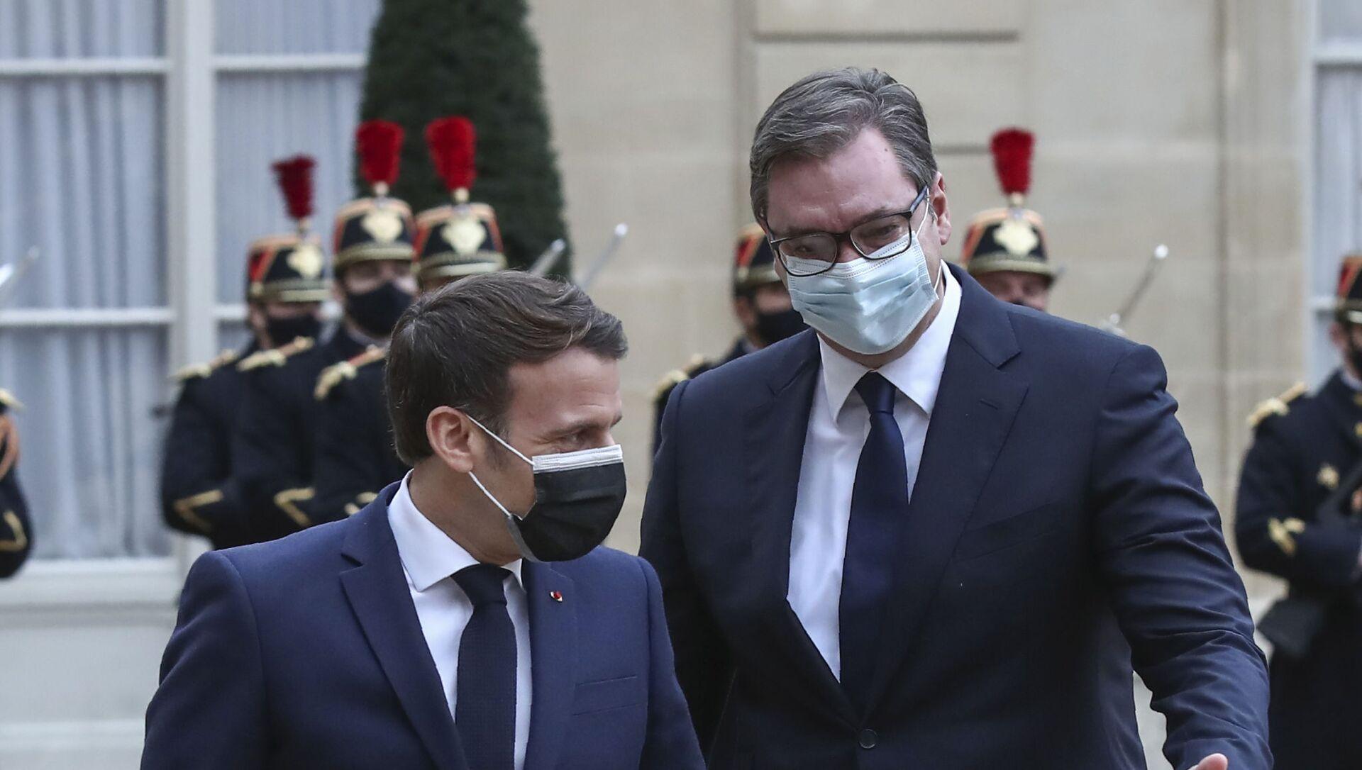 Aleksandar Vučić i Emanuel Makron u Parizu - Sputnik Srbija, 1920, 01.02.2021
