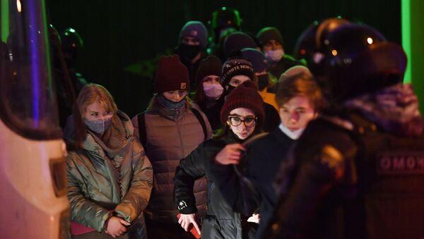 Присталице Алексеја Наваљног на протесту у Москви - Sputnik Србија