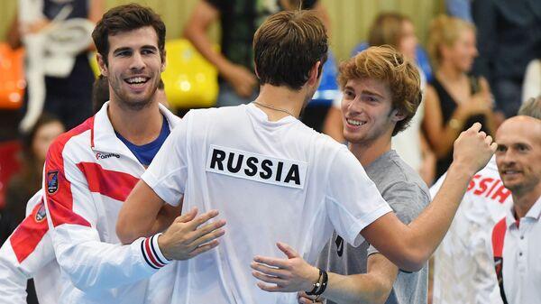 Teniska reprezentacija Rusije (Hačanov, Medvedev, Rubljov) - Sputnik Srbija