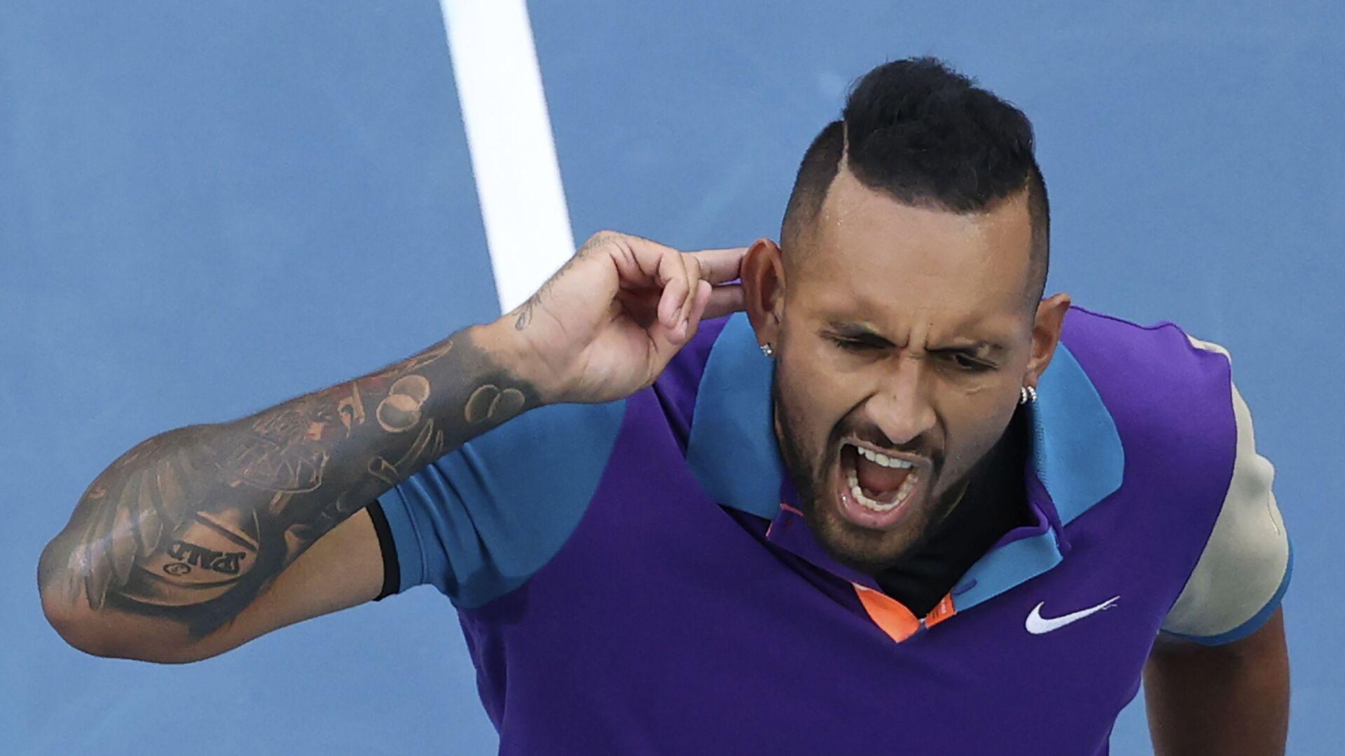 Australijski teniser Nik Kirjos tokom meča protiv Dominika Tima na Australijan openu 2021. - Sputnik Srbija, 1920, 09.08.2021