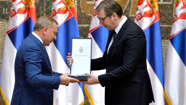 Председник Александар Вучић и потпредседник руске владе Јуриј Борисов - Sputnik Србија